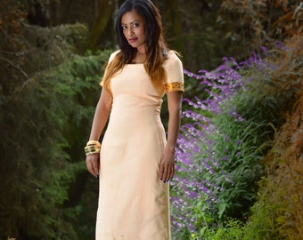 Long peach dress/ Peach maxi dress/ Modern Ethiopian dress/ Maxi dresses with short sleeves/ Peach pink dress/ Peach formal dress