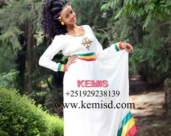 High neck dress/ Ethiopian dress/ High collar dress/ Organic