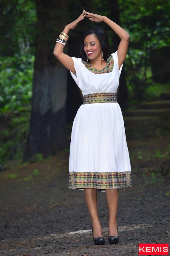Fit and flare dress/ African midi dress/ Ethiopian habesha dress/ Flare  cotton dress/ Plus size flare dress/ Mid length dress