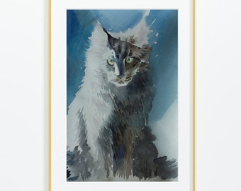 Abstract Watercolour Siamese Cat Feline Wall Art Canvas Print Picture A2 A1 A0