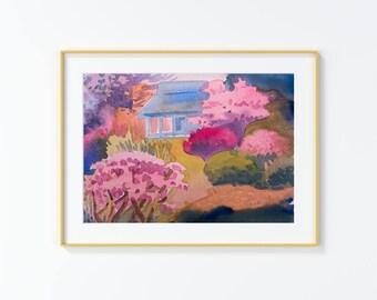 Original Watercolor Painting,Botanical Garden,Japanese garden ,Watercolor Painting,size 9in x12in