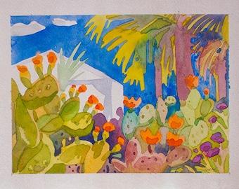 Botanical Garden,Original Watercolor Painting,size 9in x12in,Watercolor Painting,Сactuses,Palm Trees,Watercolor Painting Botanical Garden