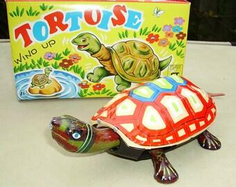 Tortoise clockwork wind-up tin toy Nakayama Japan Boxed