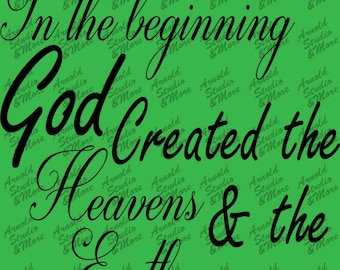 Wall Art Decal In the beginning God Created the Heavens and the Earth vinyl wall words