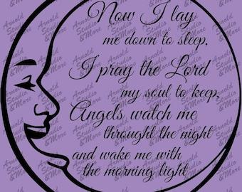 Wall Art Nursery Decal Now I lay me down to sleep Pray the Lord my Soul to Keep vinyl wall words