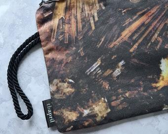 Real Silk Zipped Bag - Wrist Strap - Geology Inspired