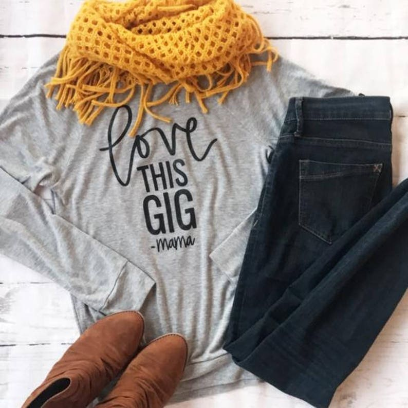 Mom Life Shirt-Mom Life Shirt Long Sleeve-Mom Life Shirt Plus Size-Love This Gig~Mama-Grey Pullover Black Font-Mommy LaDy Club Mama Joy