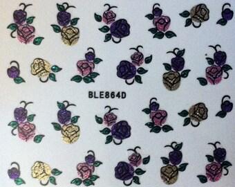 Assorted Floral Pink Purple Glitter Festival Nail Sticker Nail Art B199