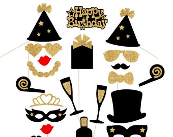 21st Birthday Decorations Black And Gold Glitter 36pc Photo Booth Props Party Decor