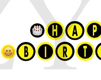 Emoji Banner Printable Birthday Instant Download Happy Theme DecorationsTheme
