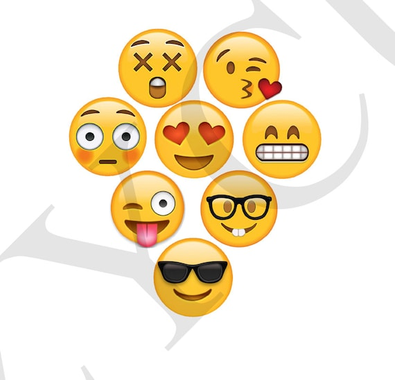 Emoji Printable Photo Booth Prop Set 1 Instant Download Emoji Etsy