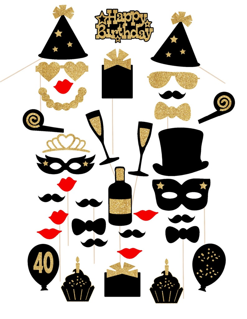 40th Birthday Decorations Black And Gold Glitter 36pc