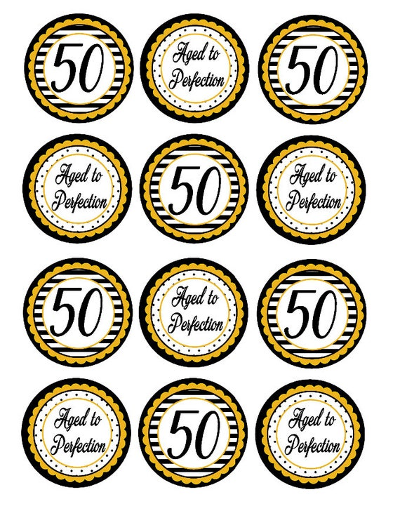 50th Birthday Cupcake Toppers Black And Gold Party Decorations