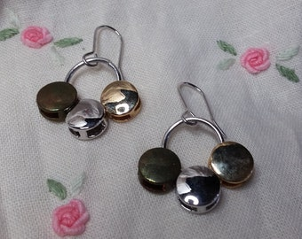 Three Tone Bronze Silver and Gold Dangle Earrings Tricolor Earrings