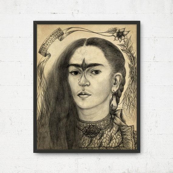 Frida Kahlo Portret Sztuki Instant Download Plakat Frida Do Druku Meksykańska Wall Art Frida Kahlo Boho Decor Art Cottage Malarstwo Frida
