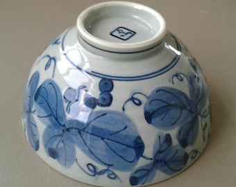 blue and white bowl, rice bowl, japan pottery, blue and white rice bowl, soup bowl,