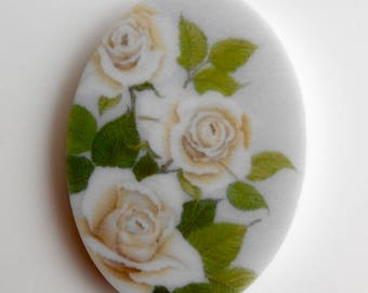"""1 x CABOCHON oval romance """"Bouquet de Roses"""" green and white resin Rose Thé / ref 0024"""