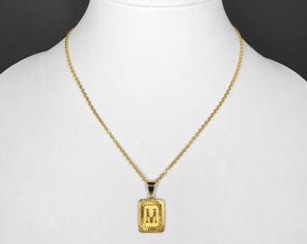 18k Gold Filled Initial Medallion Letter Pendant Necklace Square Rectangle with Chain Custom Name Personalized