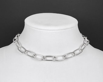 Chain Link Choker Necklace with Oversized Clasp in Silver