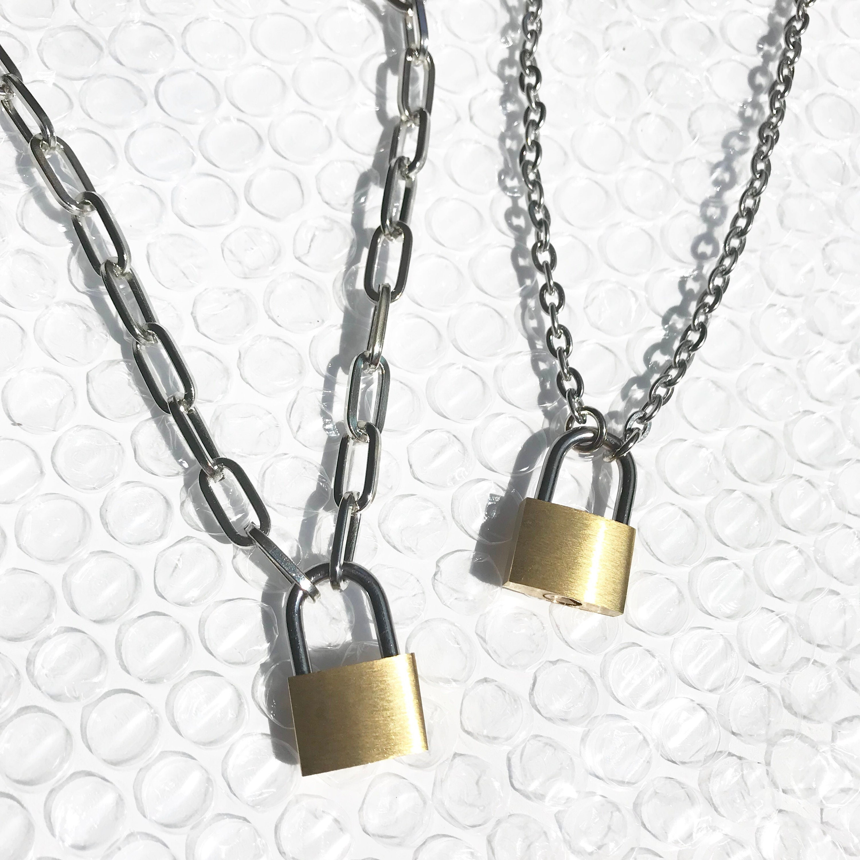 Padlock Necklace Chain Link With Functioning Lock And Key