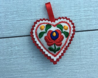 Embroidered Heart - Rose motif  (H5)