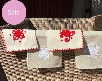 Red embroidered large linen napkins - irasos design