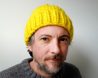Hand Knitted Beanie - Neon Yellow