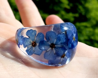 Eco Resin Flower Ring, Flower Resin Rings, Forget-Me-Not Ring, Real Flower Ring, Real Flower Resin Ring, Nature Flower Resin Ring