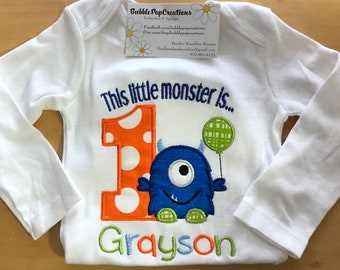 This Little Monster Birthday Shirt Embroidered 1st Design