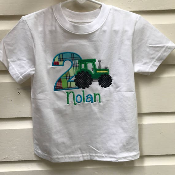 Tractor Birthday Shirt Embroidered Second Green And Yellow