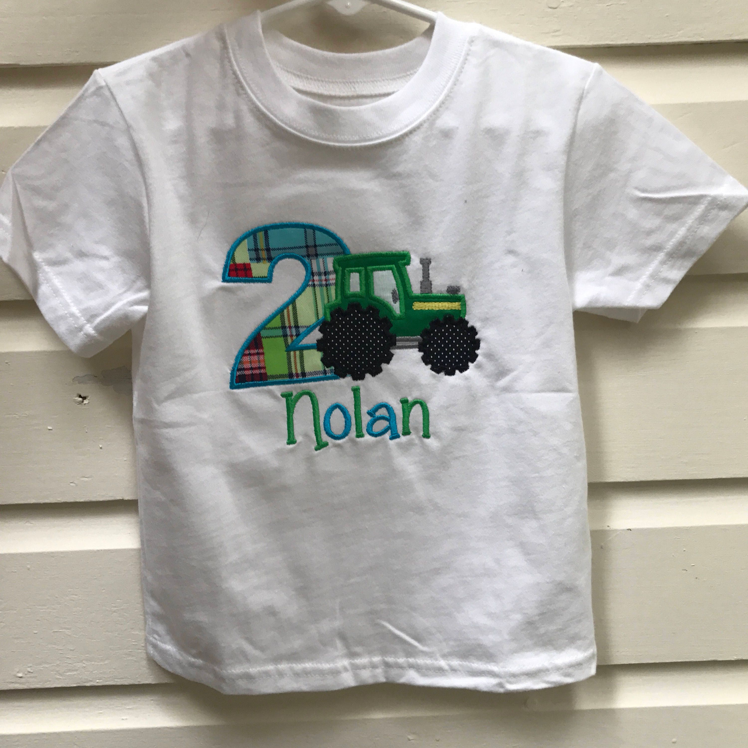 Tractor Birthday Shirt Embroidered Second Green And Yellow Plaid 2nd