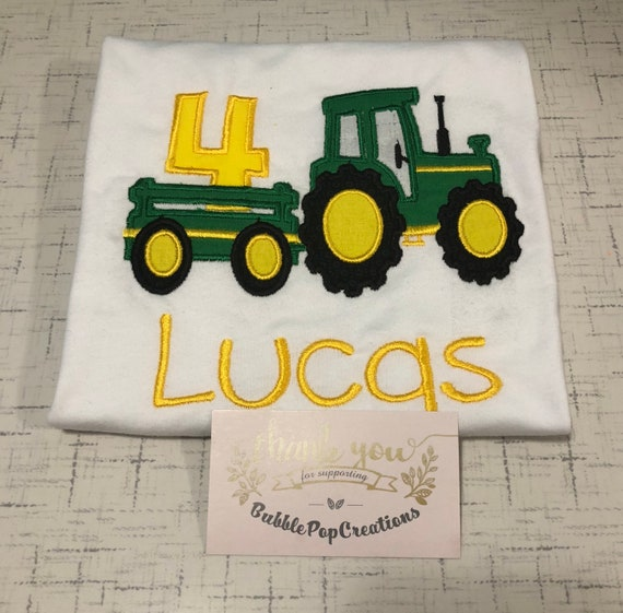 Tractor Trailer Birthday Shirt Embroidered 4th Green And Yellow