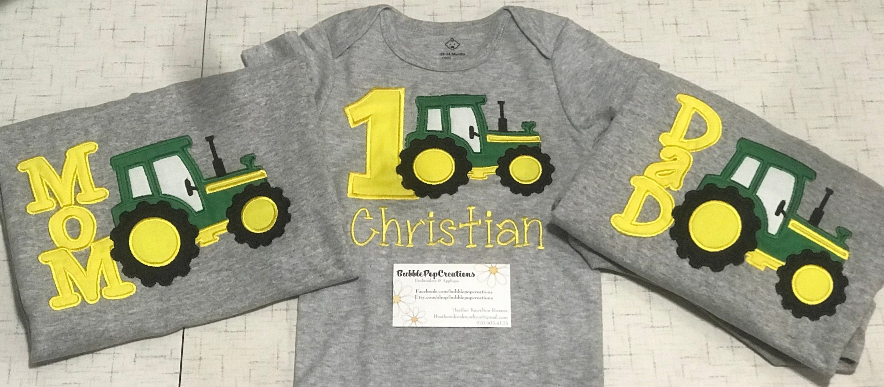 Family Tractor Birthday Shirts First Embroidered