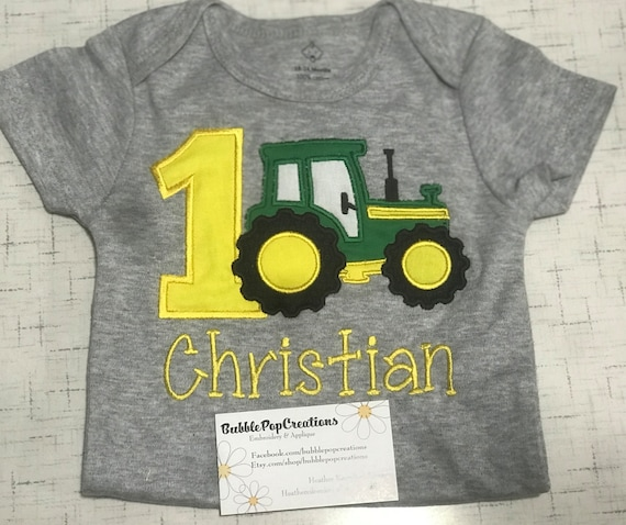 First Tractor Birthday Shirt Embroidered Green And Yellow