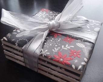 Black/Red Christmas flowers handmade ceramic tile coasters