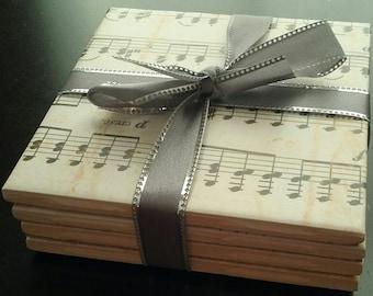 Handmade music notes ceramic tile coasters