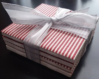 Red glitter striped handmade ceramic tile coasters