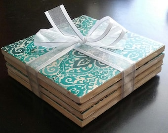 Handmade blue and green ceramic tile coasters