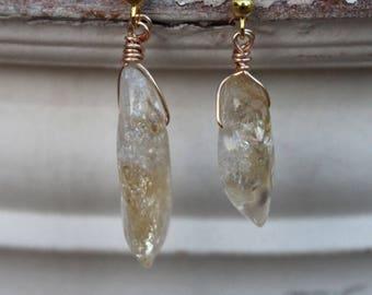 Citrine Crystal Earrings, Citrine Earrings, Raw Citrine Crystal, Earrings, Crystal, Crystal Jewelry, Boho Jewelry, Hipster Jewelry