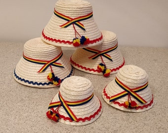 3b6a28c1fe8 Romanian Traditional Kids or Adult Straw Hats Romanian Natural Straw Hat Clop  from Romania Maramures  Maramures man straw hats