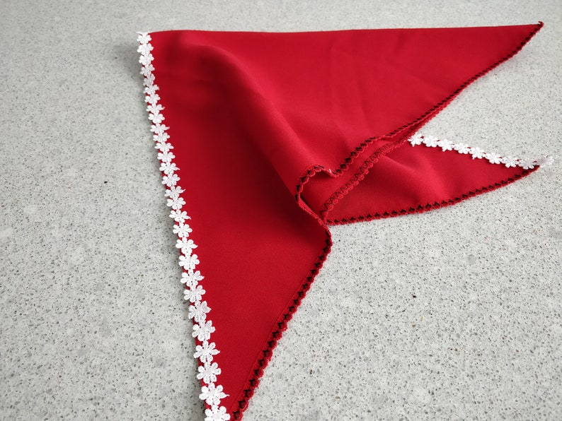 Romanian Red Triangle KerchiefTriangle Head ScarfRomanian Bandanna Head CoverRomanian Triangle Head ScarfRed Bandanna with White Lace