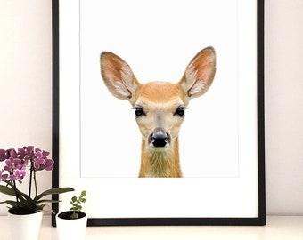 Nursery Animal print, Woodlands animal print, Baby Shower Gift, Baby Deer Print, Fawn print, Modern Minimalist poster, Printable Digital
