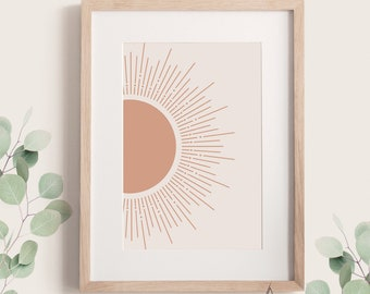 Bright sun wall art Boho sun rays art print Orange sun poster Abstract sunlight Printable sunburst Instant download