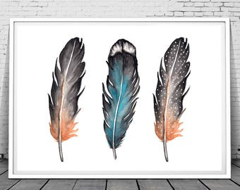 Feather wall art, feather print, watercolor print, feather wall art, watercolor feather, boho printable,tribal wall art, bohemian decor