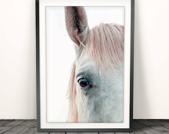 Horse Print, Printable Large Poster, Color Photo,Modern Minimalist, Wall Art Photography, Pastel Pink, Digital Download, Girls Room Decor