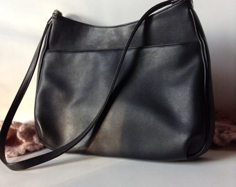 Carlo D'Santi Black Leather*Like Hobo Shoulder Bag | 1990's