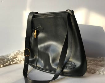 Longchamp Black Leather Roseau Sling Bag / Shoulder Bag / Bucket Bag