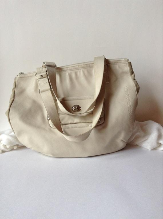 3938307bd1 Large Cream Colored Leather Tote   Shoulder Bag   Gym Bag