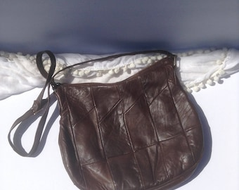 Vintage Leather Hobo Shoulder Bag / Dark Brown Patchwork Genuine Leather