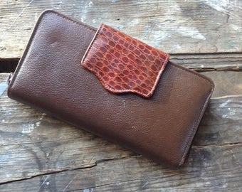 Vintage Genuine Brown Leather with Croco Trim Women's Checkbook Wallet